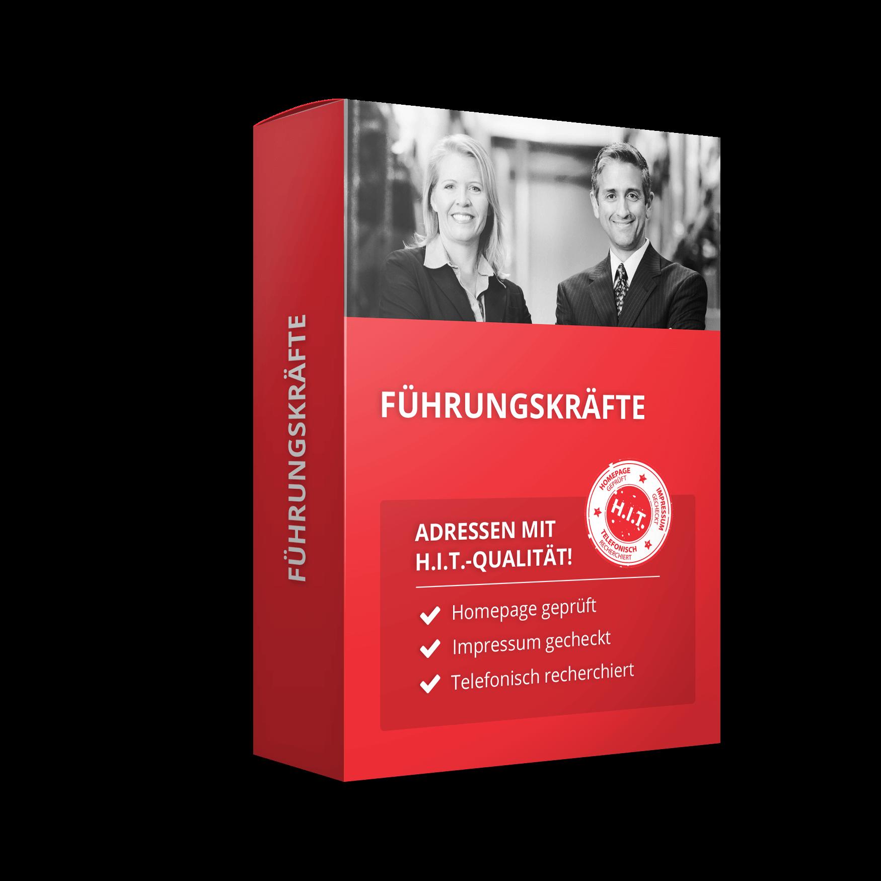 Darstellung einer roten Schachtel mit dem Titel Führungskräfte